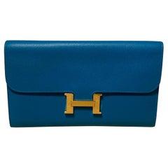 Hermes Constance Long Wallet Blue Epsom