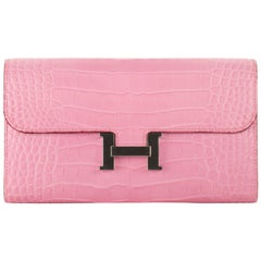 Hermès Constance Long Wallet Bubblegum Matte Alligator Palladium Hardware