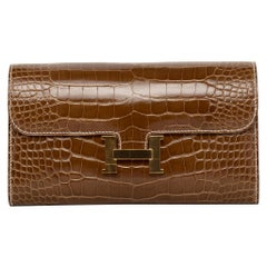 Hermès Constance Long Wallet Ficelle Shiny Alligator Gold Hardware