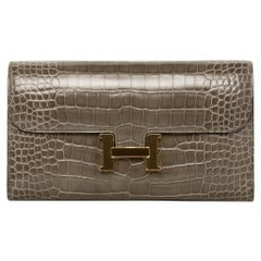 Hermès Constance Long Wallet Gris Tourterelle Shiny Alligator Gold Hardware