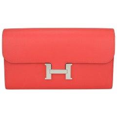 Hermès Constance Long Wallet Rose Jaipur Epsom Leather Palladium HW T 2015