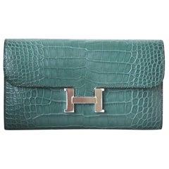 Hermès Constance Matte Crocodile Palladium H/W Wallet