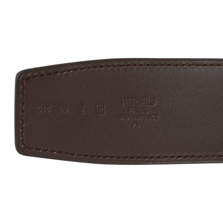 Hermes Constance Matte Porosus Crocodile 42mm Belt Havane / Brushsed Gold 85 New For Sale 2