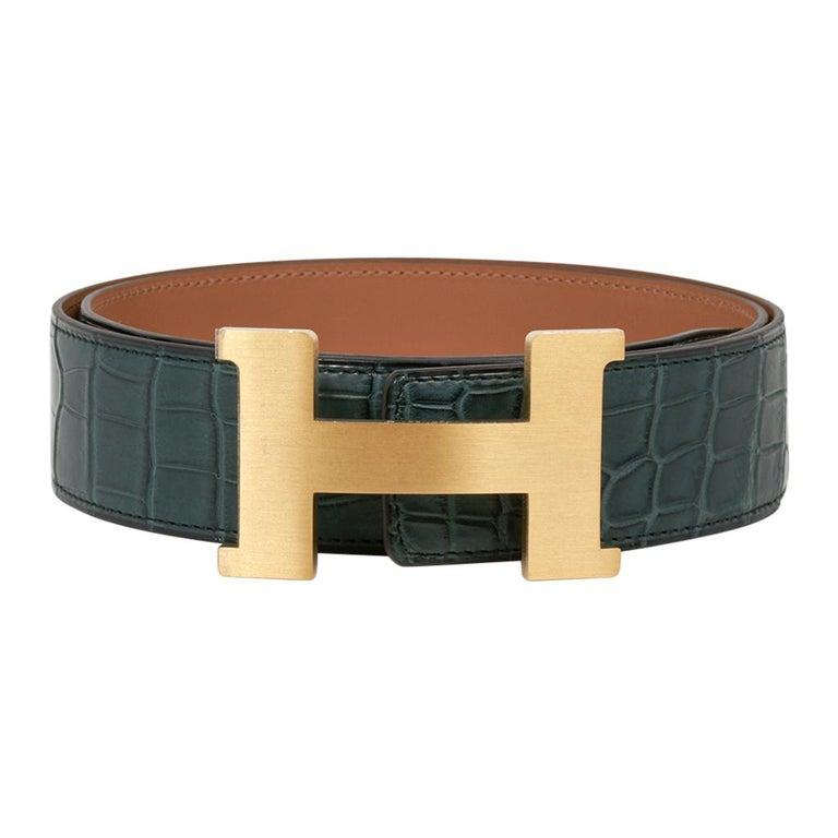 Black Hermes Constance Matte Porosus Crocodile 42mm Belt Vert Titan / Gold 90 New For Sale