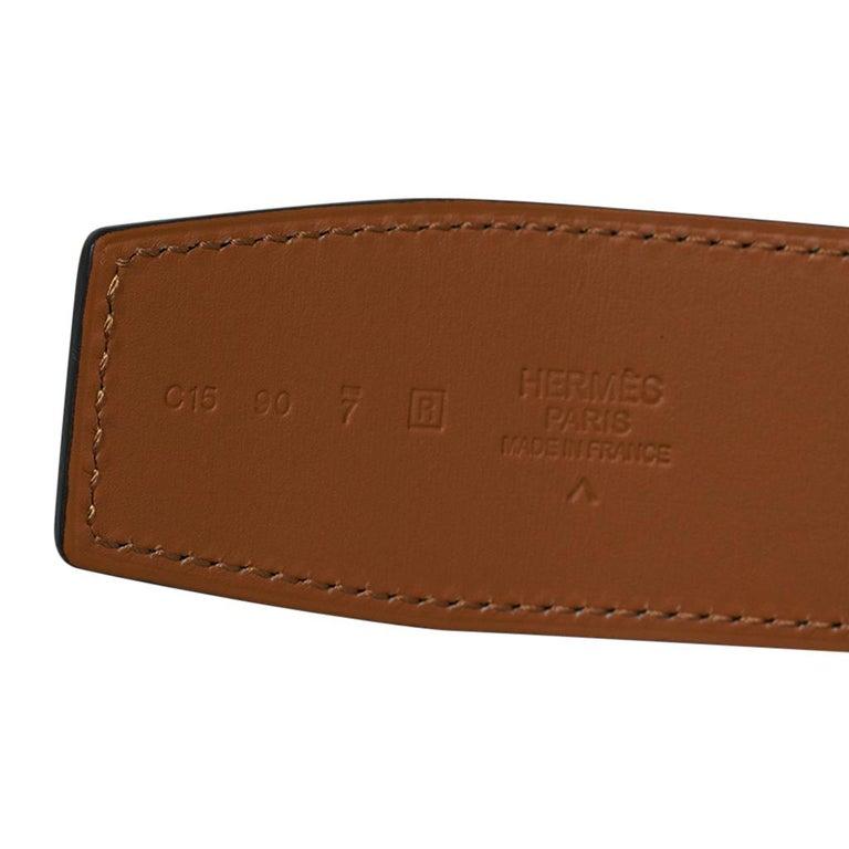 Hermes Constance Matte Porosus Crocodile 42mm Belt Vert Titan / Gold 90 New For Sale 3