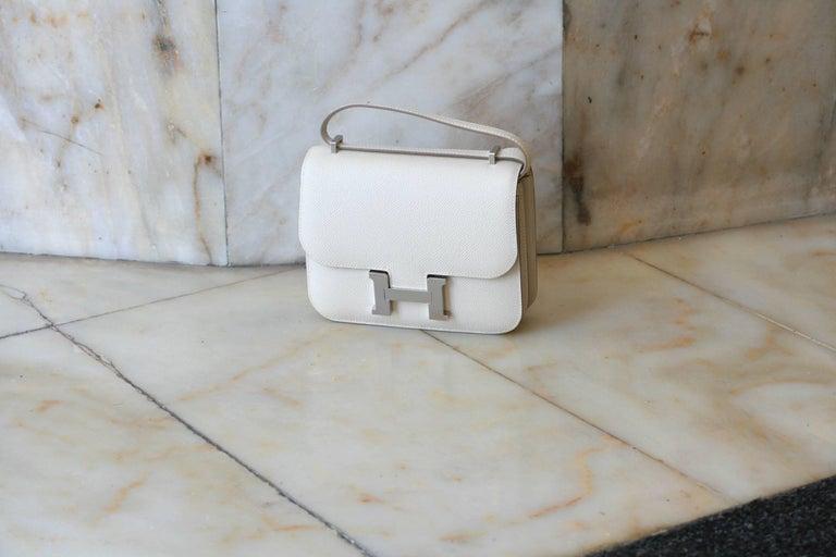 Gray HERMES Constance Mini Epsom Craie 18' For Sale