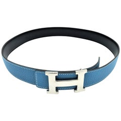 Hermes Constance reversible belt in blue jeans/black calfskin