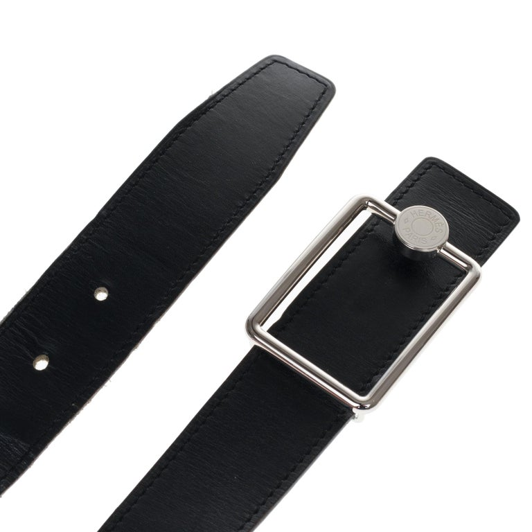HERMES Paris made in France *32mm reversible belt in black calf box and Clémence taurillon blue jeans, buckle