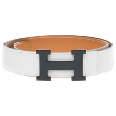Hermès Constance reversible belt in white epsom and gold box leather, PVD buckle