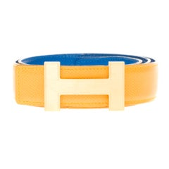 Hermès Constance reversible belt in Yellow and blue epsom  leather, Quizz buckle