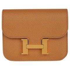 Hermes Constance Slim Wallet Waist Belt Bag Biscuit Gold Hardware