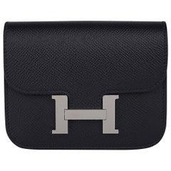 Hermes Constance Slim Wallet Waist Belt Bag Black Epsom Palladium New/Box