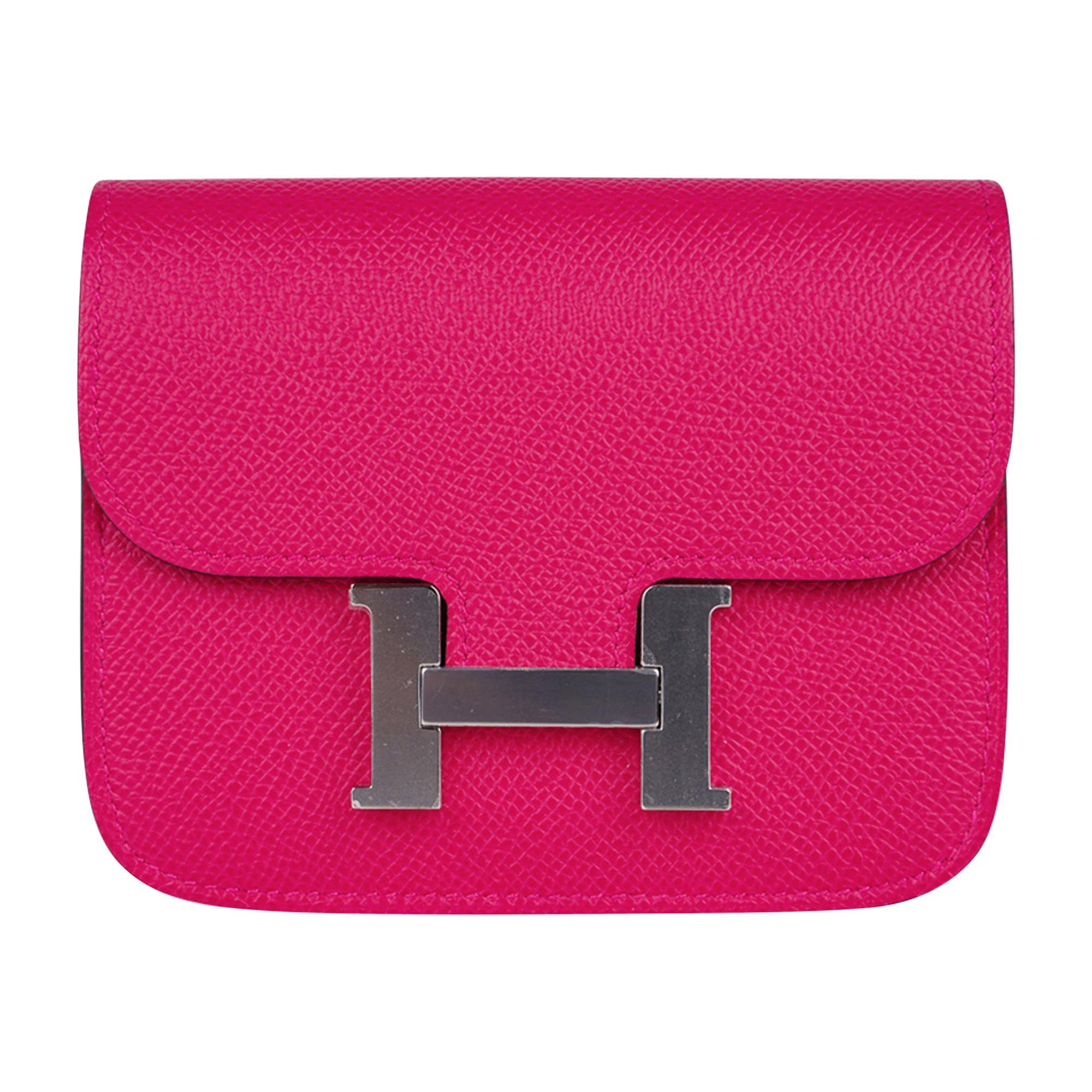 Hermes Constance Slim Wallet Waist Belt Bag Rose Mexico Epsom Palladium New/Box