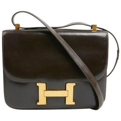 HERMES Constance Vintage Brown Box Leather