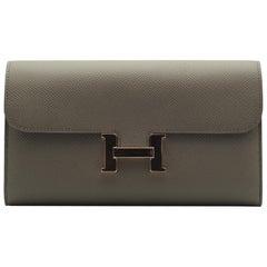 Hermès Constance Wallet Etain Epsom Leather Rose Gold Hardware