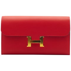 Hermès Constance Wallet Rouge Casaque Evercolor Leather Gold Hardware