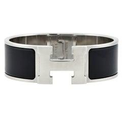 "Hermes Contemporary Black Enamel ""Clic H"" Wide Bangle Bracelet"