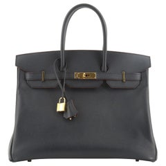Hermes Contour Birkin Bag Bleu Marine Epsom with Gold Hardware 35