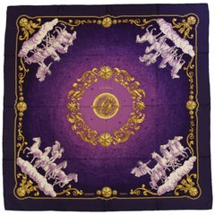 Hermes Cosmos Purple Silk Scarf Created by Philippe Ledoux