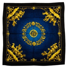 Hermes Cosmos Silk Twill Blue Scarf by Ledoux, Box