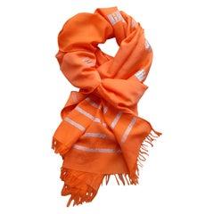 Hermès Cotton and Silk Orange Shawl Scarf Cheche Shiny H Printed RARE !