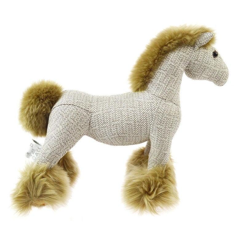 Beige Hermes Cotton Blend Brown White Horse Children Plush Novelty Toy in Box