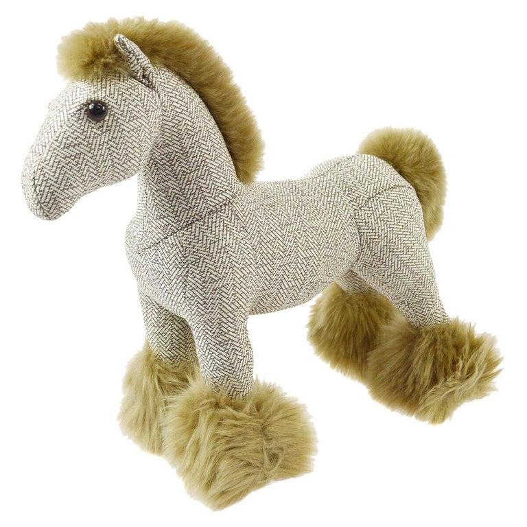Hermes Cotton Blend Brown White Horse Children Plush Novelty Toy in Box