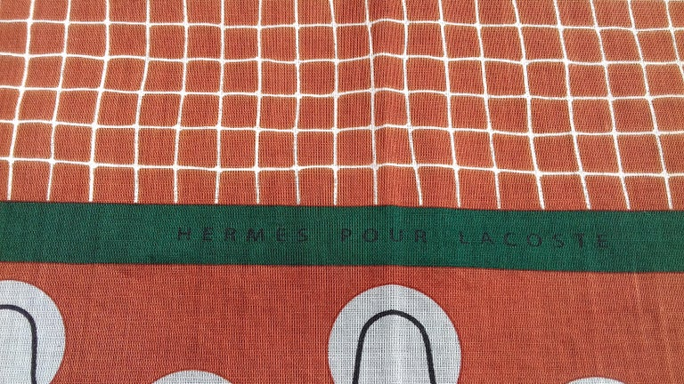 Hermès Cotton Charm Scarf Tennis Origny 75 years Lacoste Anniversary 26' RARE For Sale 10