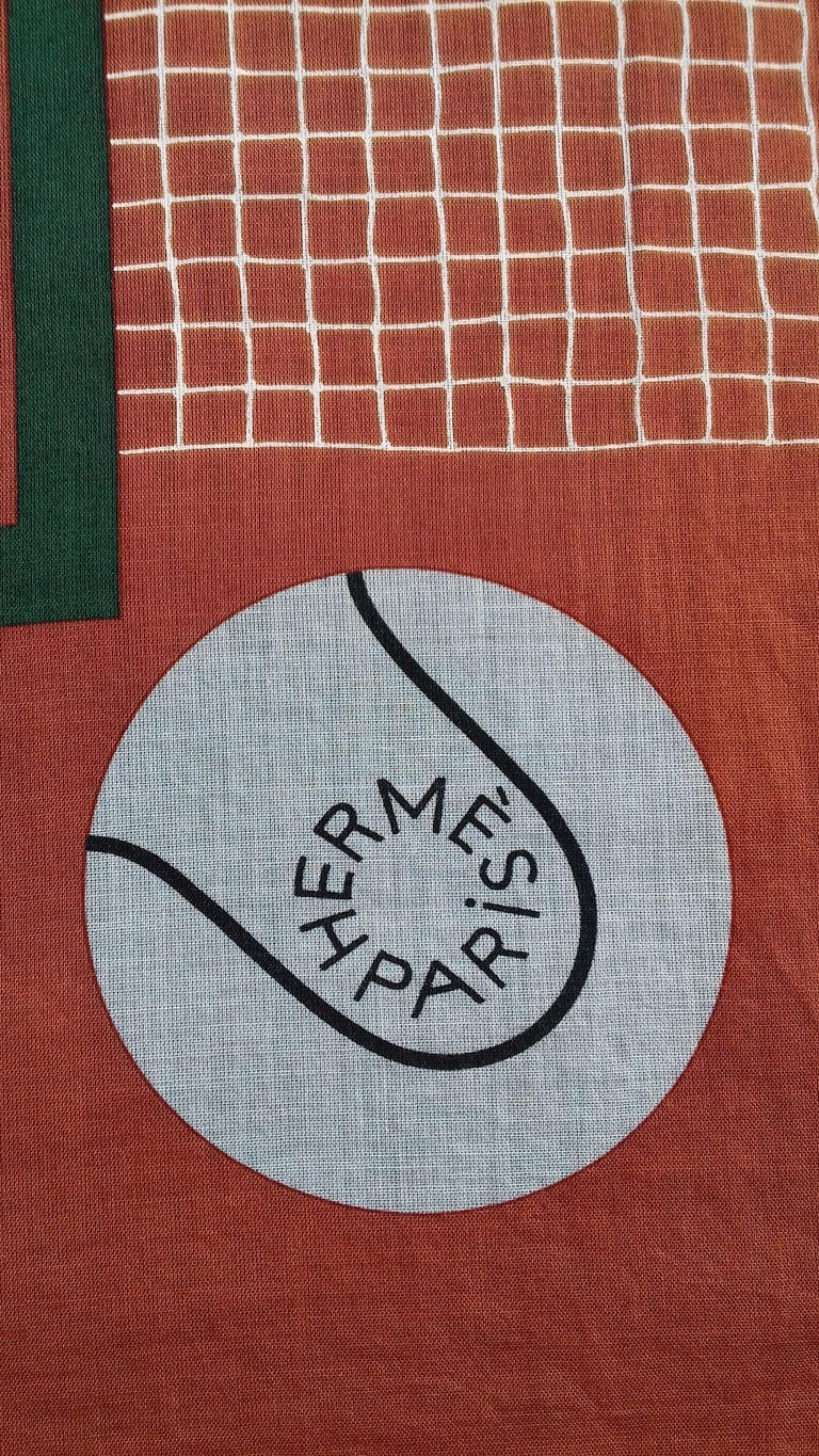 Hermès Cotton Charm Scarf Tennis Origny 75 years Lacoste Anniversary 26' RARE In New Condition For Sale In ., FR