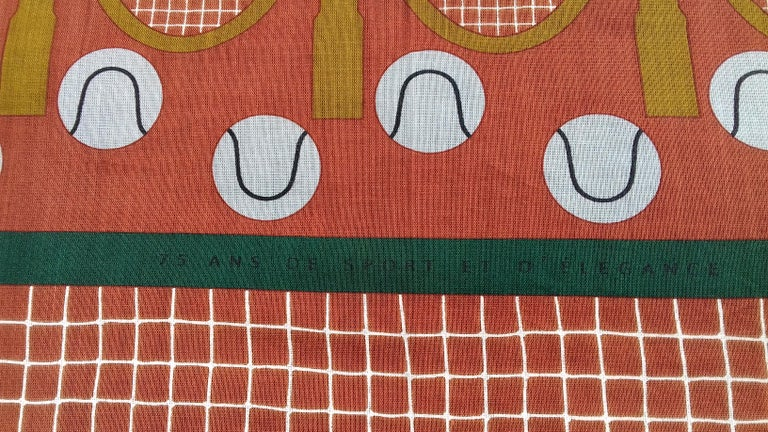 Hermès Cotton Charm Scarf Tennis Origny 75 years Lacoste Anniversary 26' RARE For Sale 2