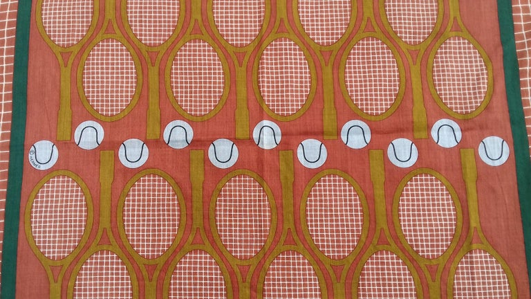 Hermès Cotton Charm Scarf Tennis Origny 75 years Lacoste Anniversary 26' RARE For Sale 3