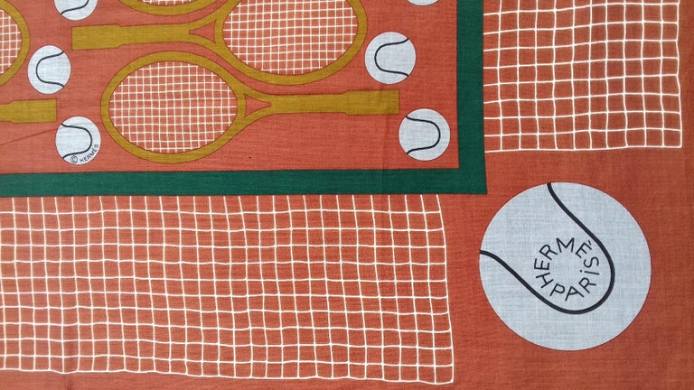 Hermès Cotton Charm Scarf Tennis Origny 75 years Lacoste Anniversary 26' RARE For Sale 4