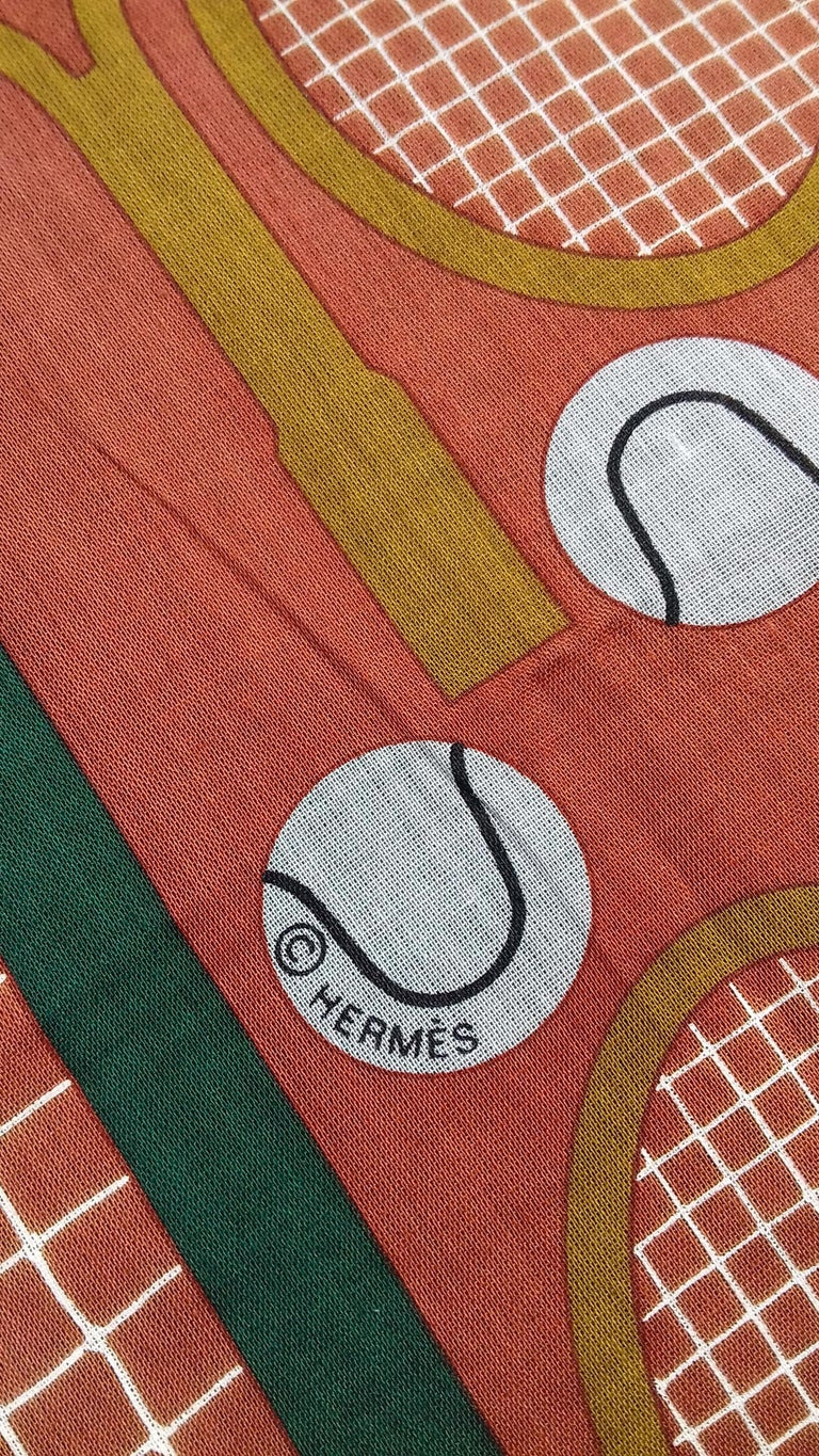 Hermès Cotton Charm Scarf Tennis Origny 75 years Lacoste Anniversary 26' RARE For Sale 5