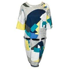 Hermes Cotton Geometric Print Multi Color Belted Shift Dress