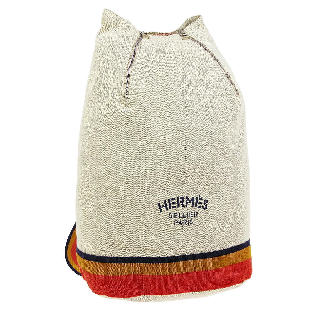 Hermes Cotton Rocabar Carryall Men's Women' Travel Shoulder Knapsack Backpack
