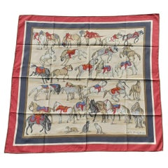 Hermès Cotton Scarf Chevaux D'Après Van Der Meulen Horses RARE