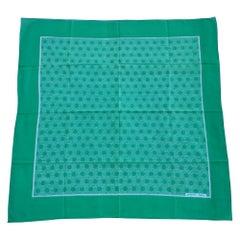 Hermès Cotton Scarf SO H Pattern Origny Green White 83 cm