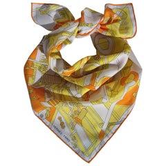 Hermès Cotton Scarf Step into the Frame Men's Universe 2019 Yellow Orange 65 cm