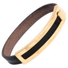 HERMES 'Coulisse' Bracelet in Brown Chamonix Leather and 18 Carat Yellow Gold