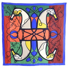 Hermes Coup de Fouet Graphic Color Block Silk 90cm Scarf