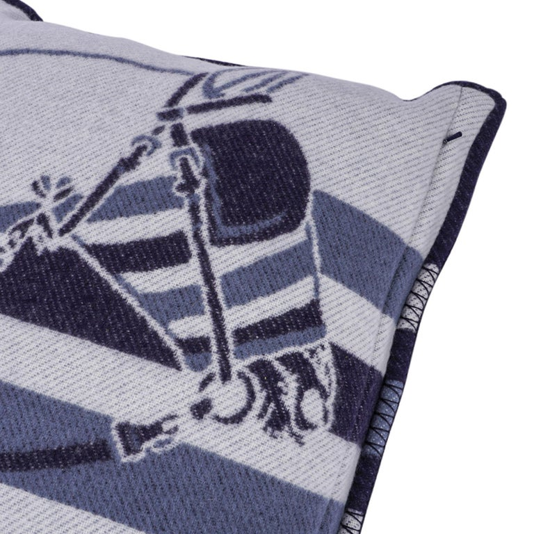 Hermes Couvertures Nouvelles Pillow Marine Limited Edition Throw Cushion New In New Condition For Sale In Miami, FL
