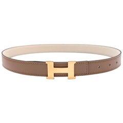 Hermes Craie/Argile Mini Constance Reversible Leather Belt 24mm GHW - Size 75