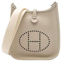 Hermes Craie Clemence Leather Mini Evelyne TPM PHW - Y 2020