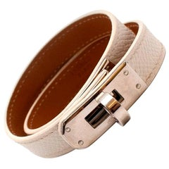 Hermes Craie Epsom Leather Kelly Double Tour Bracelet PHW
