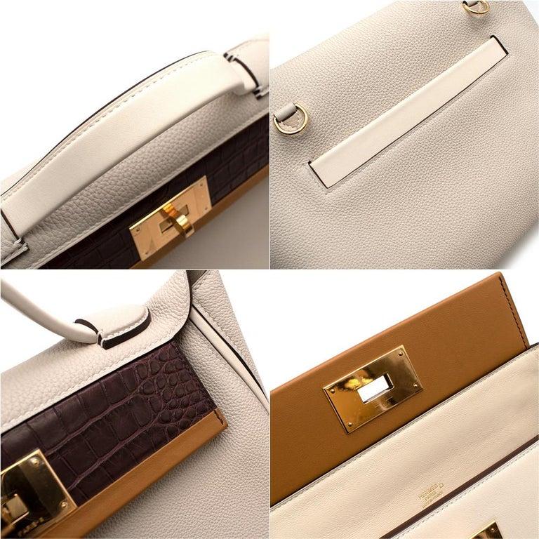 Hermes Craie Nata Flap Bordeaux Croc 24/24 29 Bag GHW For Sale 2