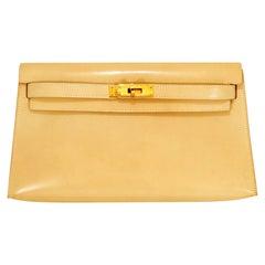 Hermès Craie Swift Leather Kelly Clutch