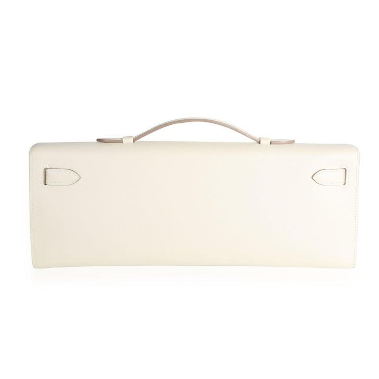 White Hermès Craie Swift Leather Kelly Cut GHW For Sale