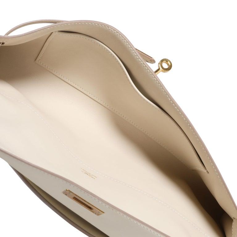 Hermès Craie Swift Leather Kelly Cut GHW For Sale 1