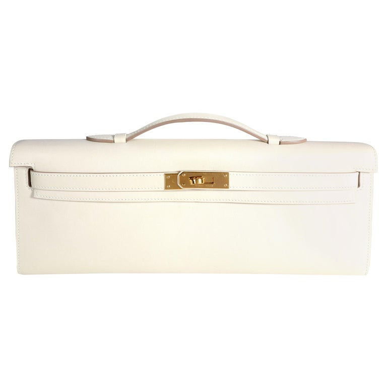 Hermès Craie Swift Leather Kelly Cut GHW For Sale
