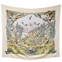Hermes Cream & Green Sichuan 90cm Silk Scarf by Robert Dallet with Box